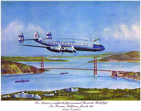 Pan America - Round The World Flight - Lockheed Constellation - 1947 - Promotional Poster