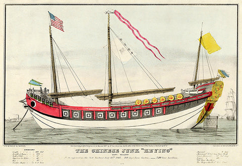 "The Chinese Junk ""Keying"" - Captain Kellett - New York From Canton - Illustration Poster"