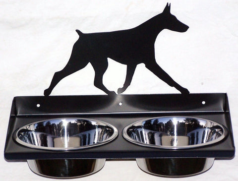 Elevated Wall Mount Metal Dog Feeder for Doberman Pinscher Image 1