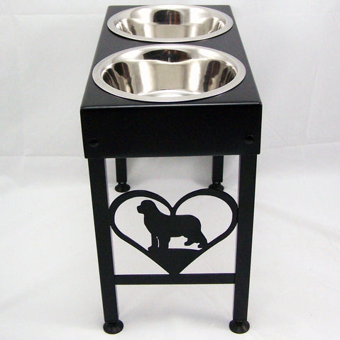 Newfoundland Elevated Metal Art Dog Feeder Raised Bowl Holder New Sizes Single, Double or Triple Dish Image 1