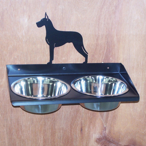 Great Dane Dog Feeder Metal Art Elevated Raised Wall Mount  Adjustable Height Image 1