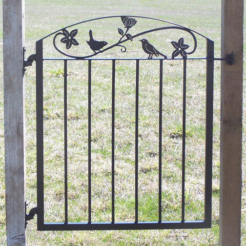 Metal Art Iron Garden Gate with Birds and Flowers Image 1