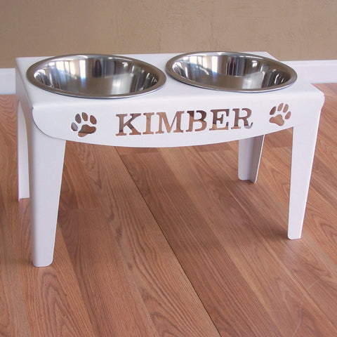 Custom Personalized Elevated Dog Feeder Stand Large Raised Bowls Image 2