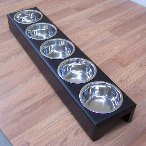 Puppy Litter Feeder Large Breed Dog 5 Bowl Powdercoated Steel Image 1