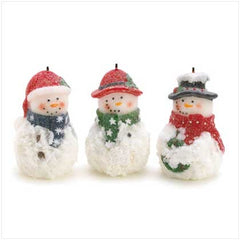 Sparkle Snowmen Candles