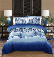 100% Cotton Night city scene duvet cover Luxury 4 piece Bedding sets