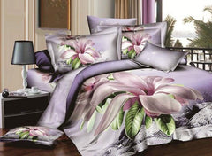 100% Cotton Lilac Magnolia 3D Printed Luxury 4-Piece Duvet Cover Sets