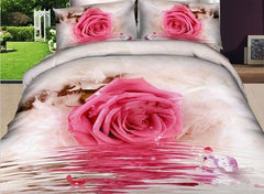 3D Pink Rose by the River Printed Luxury 4-Piece Bedding Sets/Duvet Covers