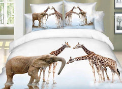 3D Elephant and Giraffe Printed Cotton Luxury 4-Piece Bedding Sets/Duvet Covers