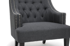 Baxton Studio Millicent Gray Linen Arm Chair