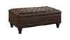 Storage Ottoman with Tufted Accents in Dark Brown Leather Like