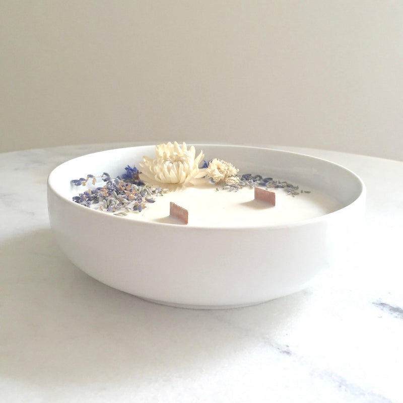 Bougie Fleurie à la Lavande - Grande - Flower Candle - Dried Flowers - Bougie Fleurie - Bougie Bio Vegan - Bougie Paris Organic Cocoon