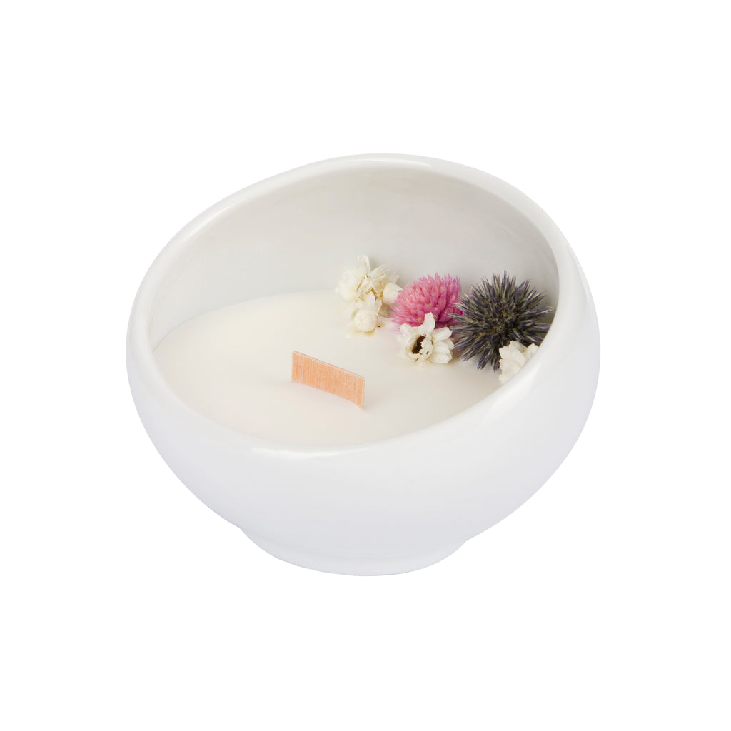 Bougie Fleurie au Jasmin - Cocon - Flower Candle - Dried Flowers - Bougie Fleurie - Bougie Bio Vegan - Bougie Paris Organic Cocoon