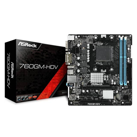 ASROCK 760GM-HDV Socket AM3 + / AM3 / AMD 760G / DDR3 / SATA2 Y USB2.0 / A & V & GbE / MicroATX placa madre