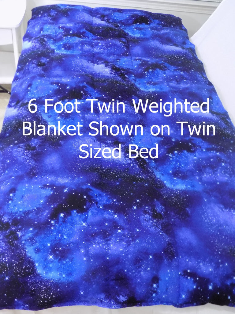 6 Foot Twin Solid Peacock Blue 100% Cotton - Lifetime Sensory Solutions