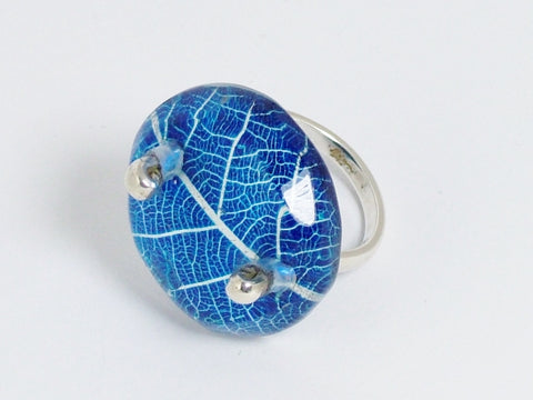 Blue Skeleton Leaf Ring