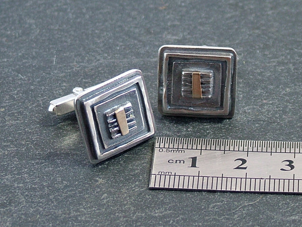 Oxidised Silver Square Cufflinks with 14 ct Gold Detail