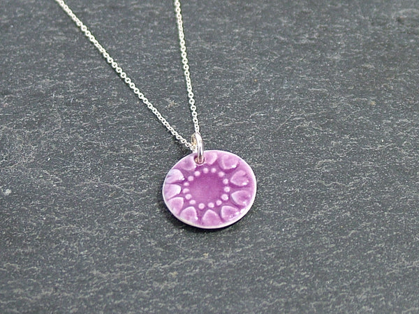 Porcelain and Sterling Silver Necklace in Raspberry