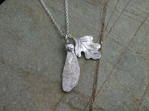 Oak Leaf and Sycamore Necklace