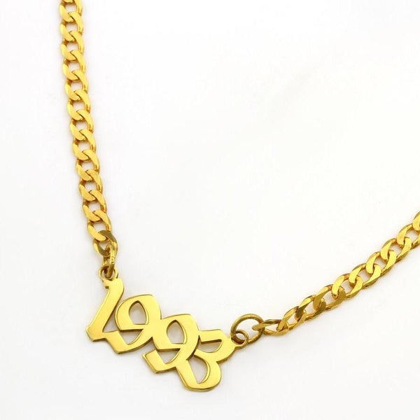 Old English name plate necklace on link chain