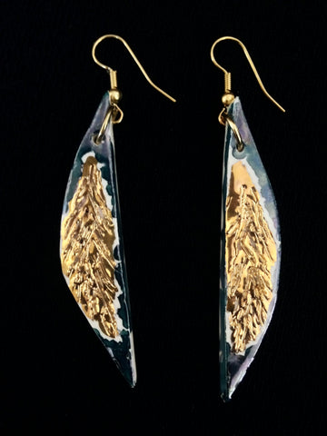 SOLD Teal overlay with 22kt yellow gold ling earrings