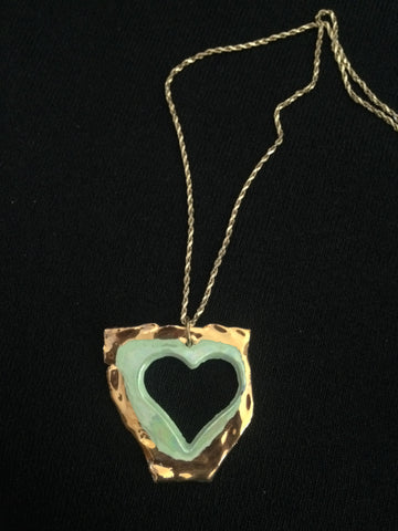 Heart necklace Seafoam Green & 22kt yellow gold