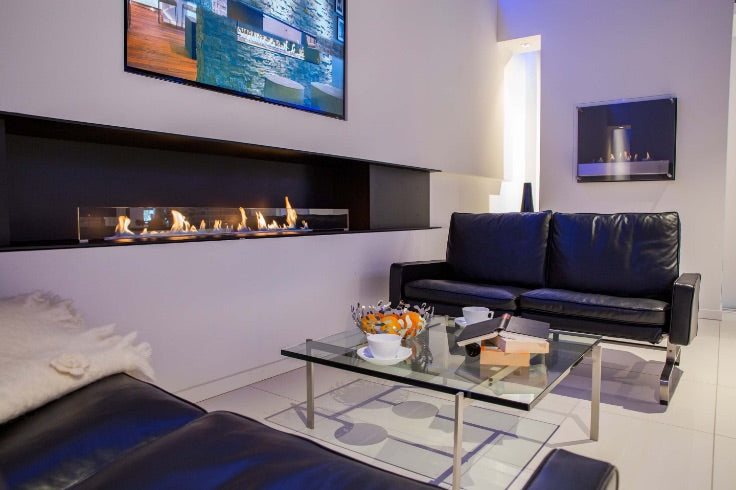 Decoflame ethanol fireplace installed in living room