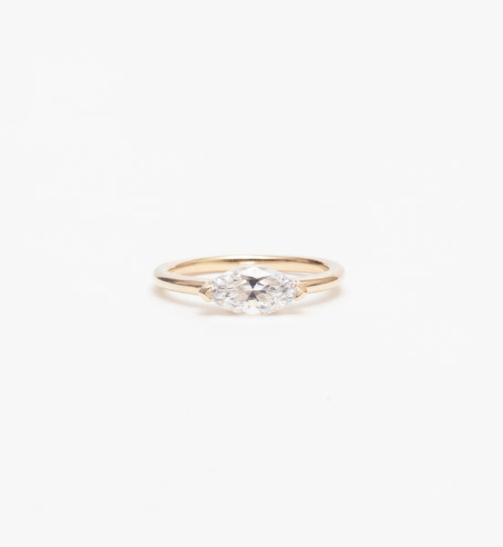 East-West Marquise Solitaire Ring