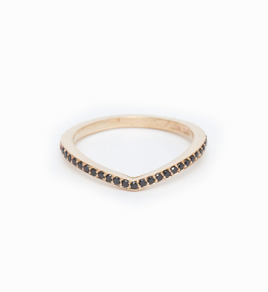 Black Diamond Curved Eternity Band: Front