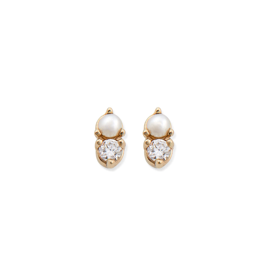 DIAMOND & PEARL ANTIQUE DOUBLE STUD