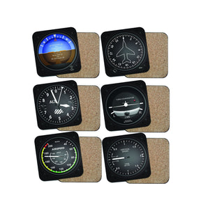 SPECIAL OFFER! Airplane Instrument Series (6 Pieces) Coasters Pilot Eyes Store