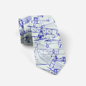 Amazing Drawings of Old Aircrafts Designed Ties