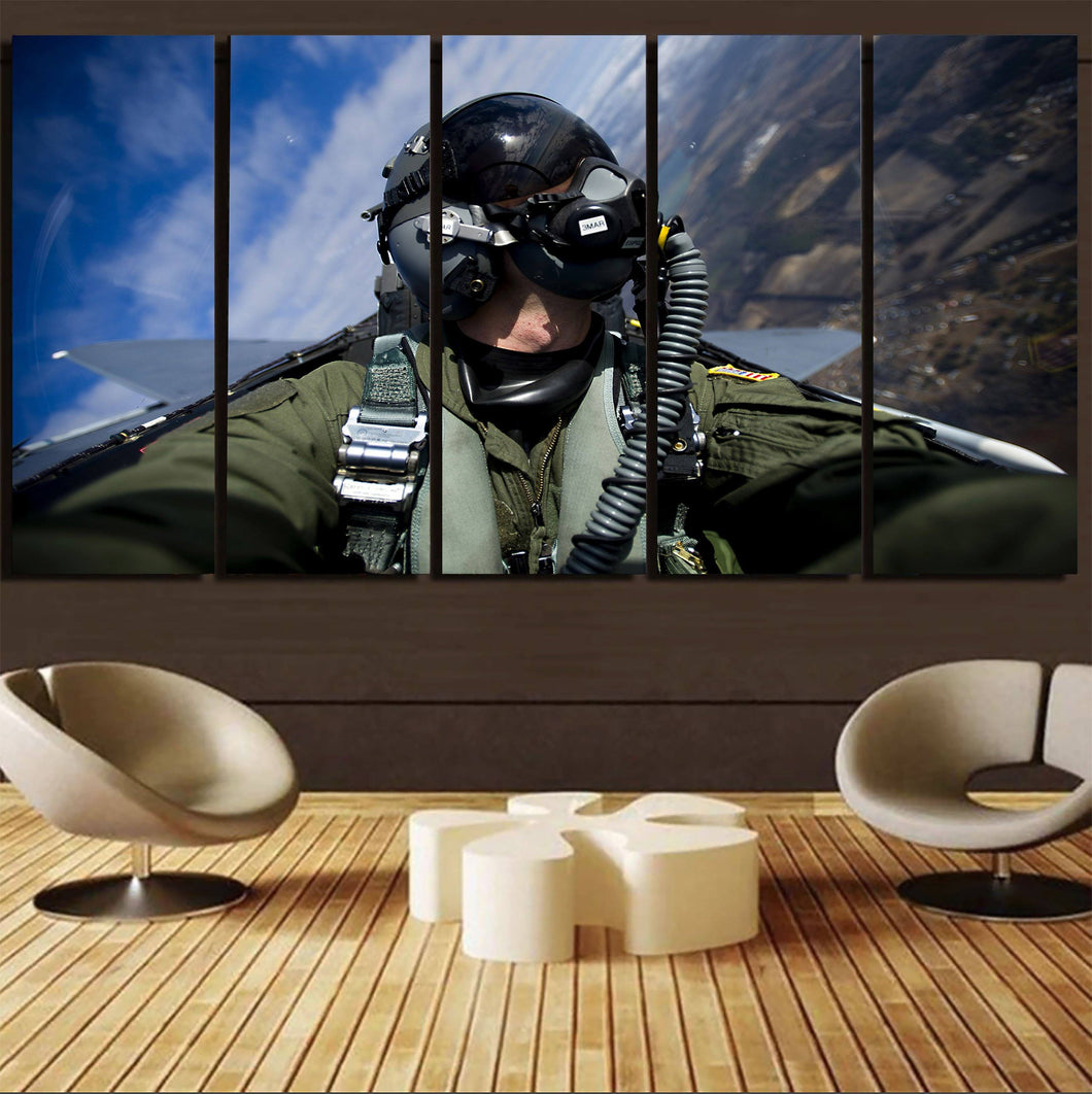 Amazing Military Pilot Selfie Printed Canvas Prints (5 Pieces) Aviation Shop