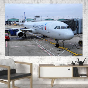 American Airlines A321 Printed Canvas Posters (1 Piece) Aviation Shop