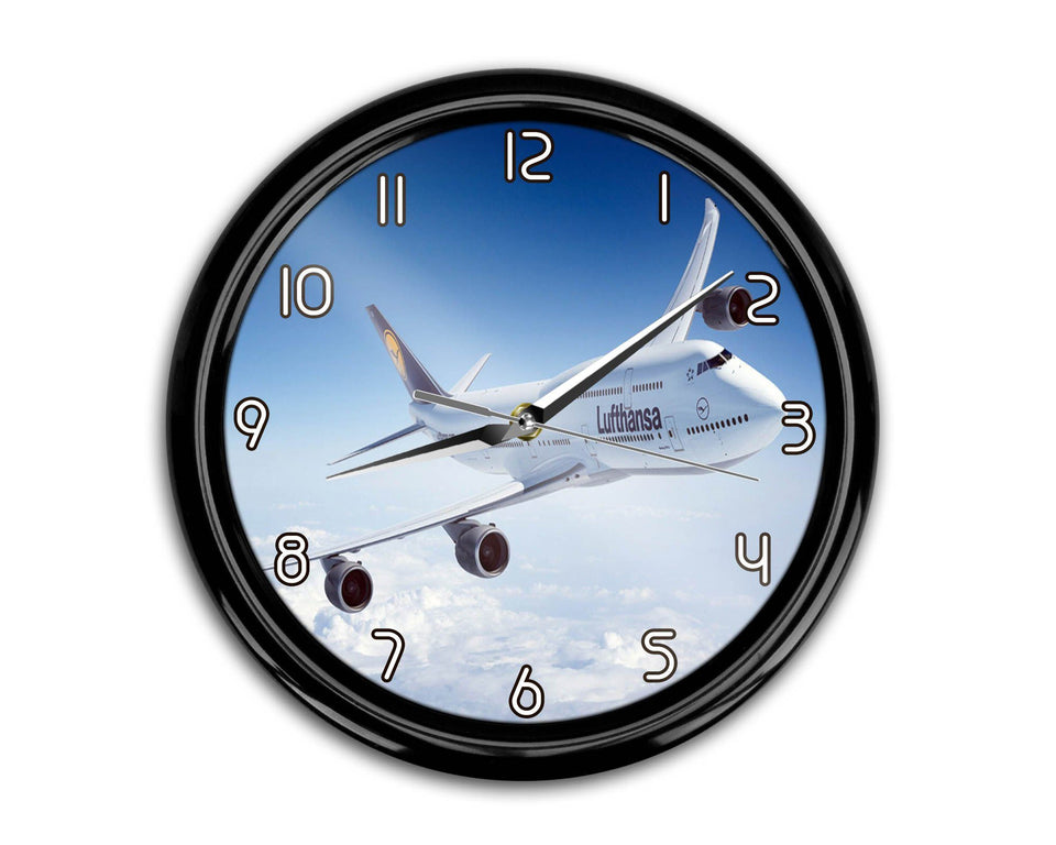 Cruising Lufthansa's Boeing 747 Printed Wall Clocks Aviation Shop