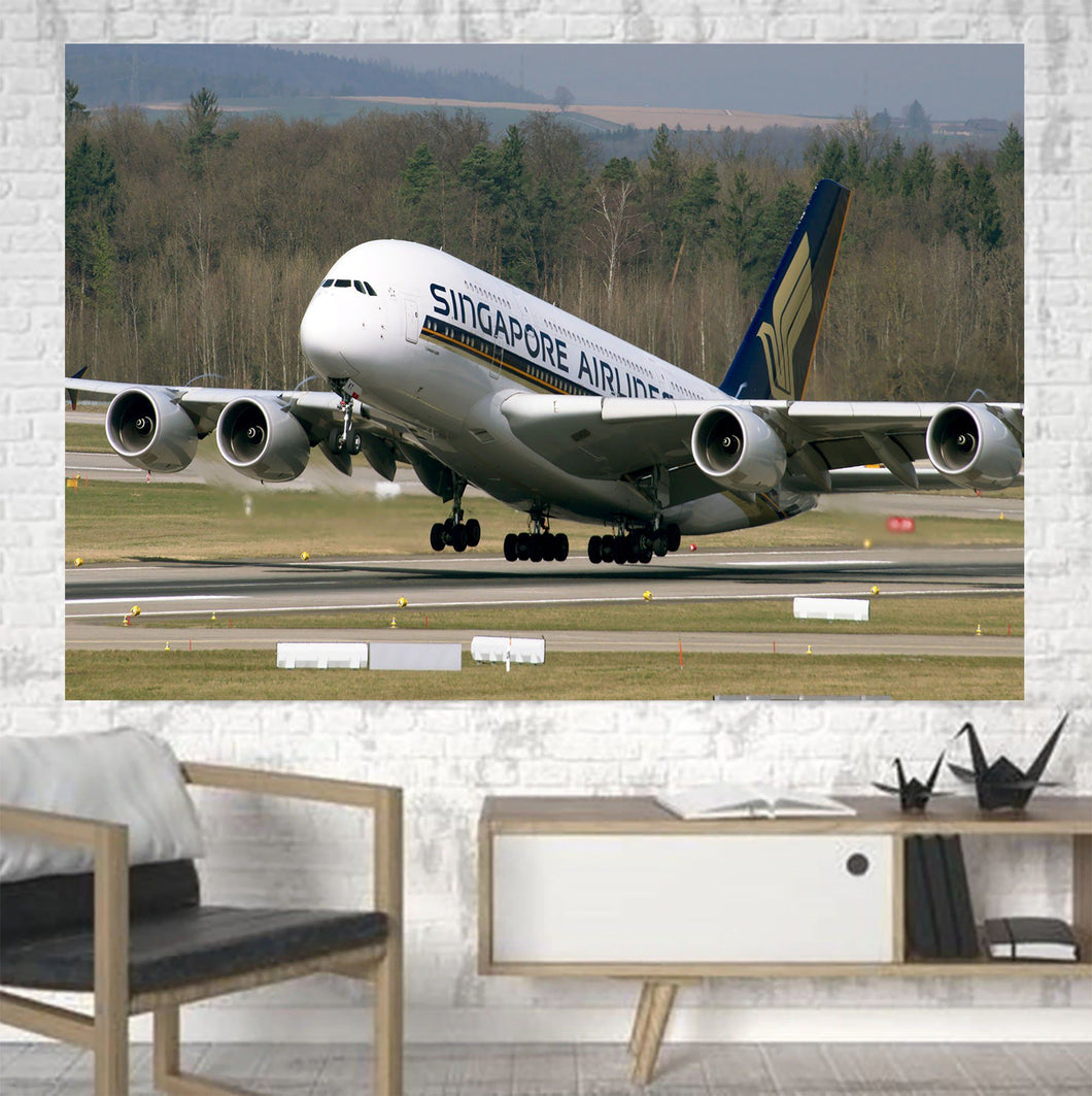 Departing Singapore Airlines A380 Printed Canvas Posters (1 Piece) Aviation Shop