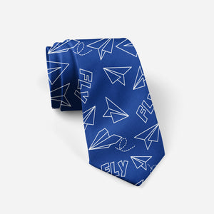 Paper Airplane & Fly (Blue) Designed Ties