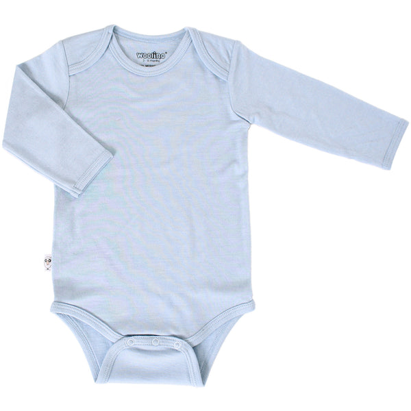 Baby Bodysuit, Long Sleeve, Merino Wool, Blue