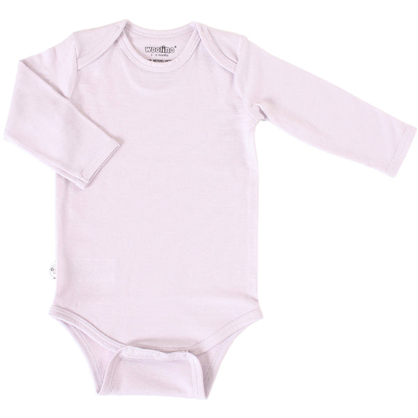 Baby Bodysuit, Long Sleeve, Merino Wool, Lilac