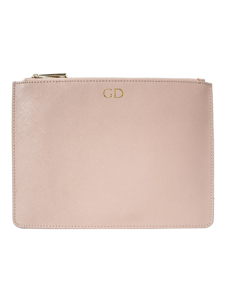 Personalized Customized Monogram Saffiano Clutch in Nude The Oak Bar Singapore