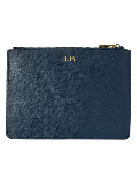 Personalized Customized Monogram Saffiano Clutch in Midnight Navy The Oak Bar Singapore