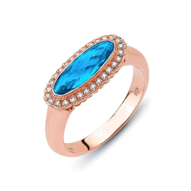 Blue Topaz East-West Ring