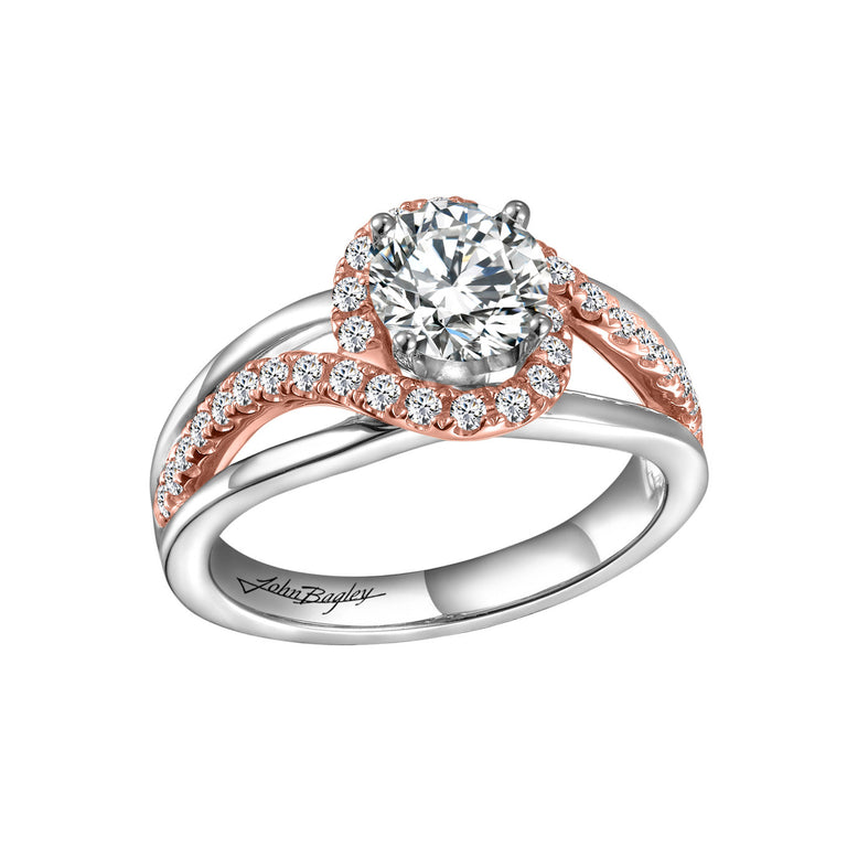 Diamond Halo Twisted Shank Rose Gold & Silver Engagement Ring at Chalmers Jewelers