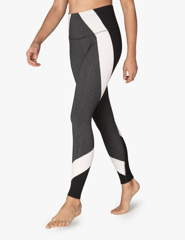 High waisted around the colorblock leggings in grey/black/pink