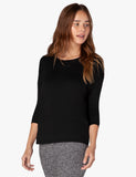 Draw the line tie back pullover in black