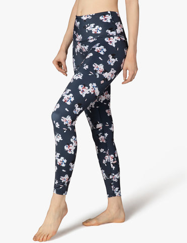 Lux high waisted impressionist floral navy midi leggings