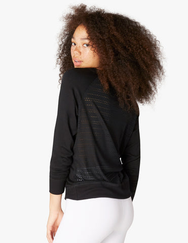 Banded mesh pullover in black