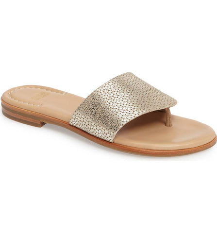 Raney gold metallic laser cut suede sandal