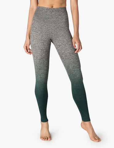 High waisted spacedye legging in green ombre