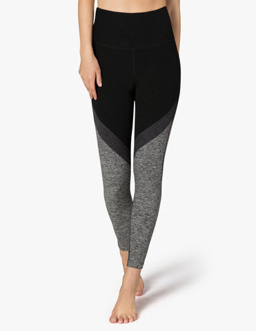Tri-panel spacedye high waisted midi legging in darkest night
